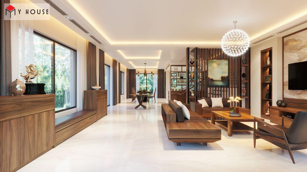 Nội thất phòng khách biệt thự hiện đại làm bằng gỗ óc chó cao cấp