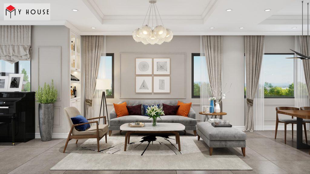 Phòng khách biệt thự với nội thất sofa hiện đại đơn giản