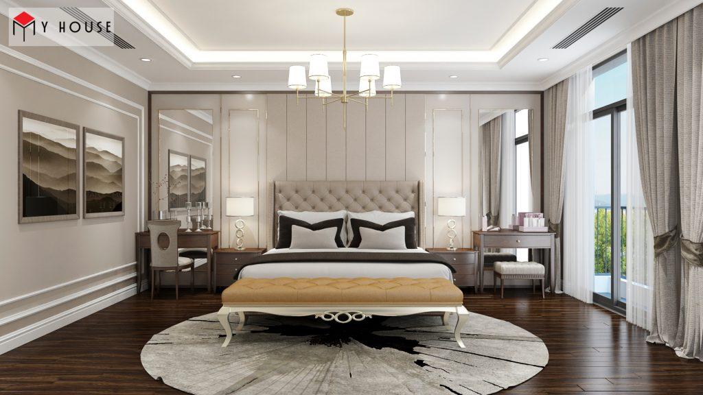 Phòng ngủ với kích thước lớn trang bị đồ nội thất cao cấp