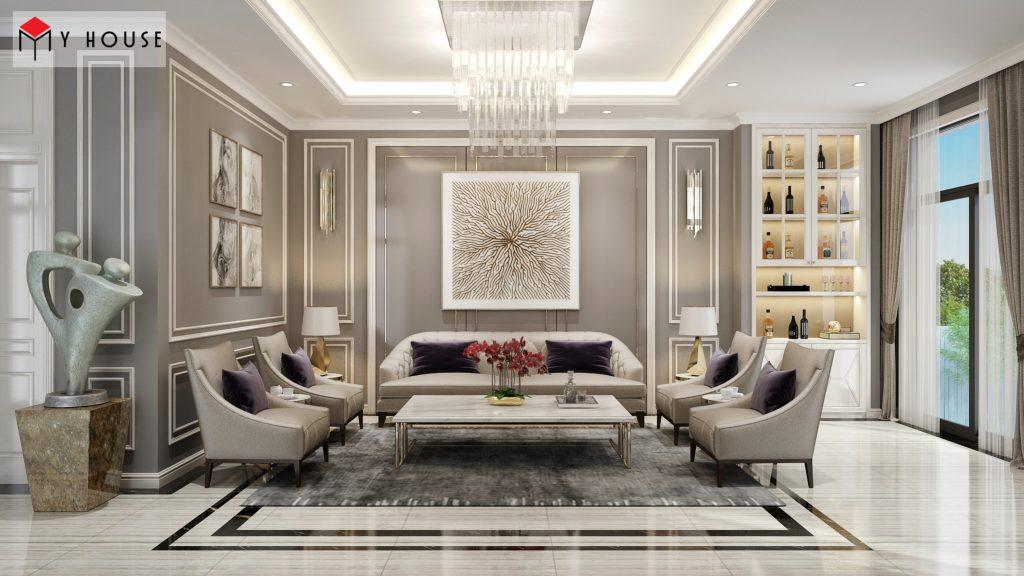 Toàn cảnh nội thất phòng khách được bố trí sắp xếp nội thất hợp lý - thẩm mỹ cao