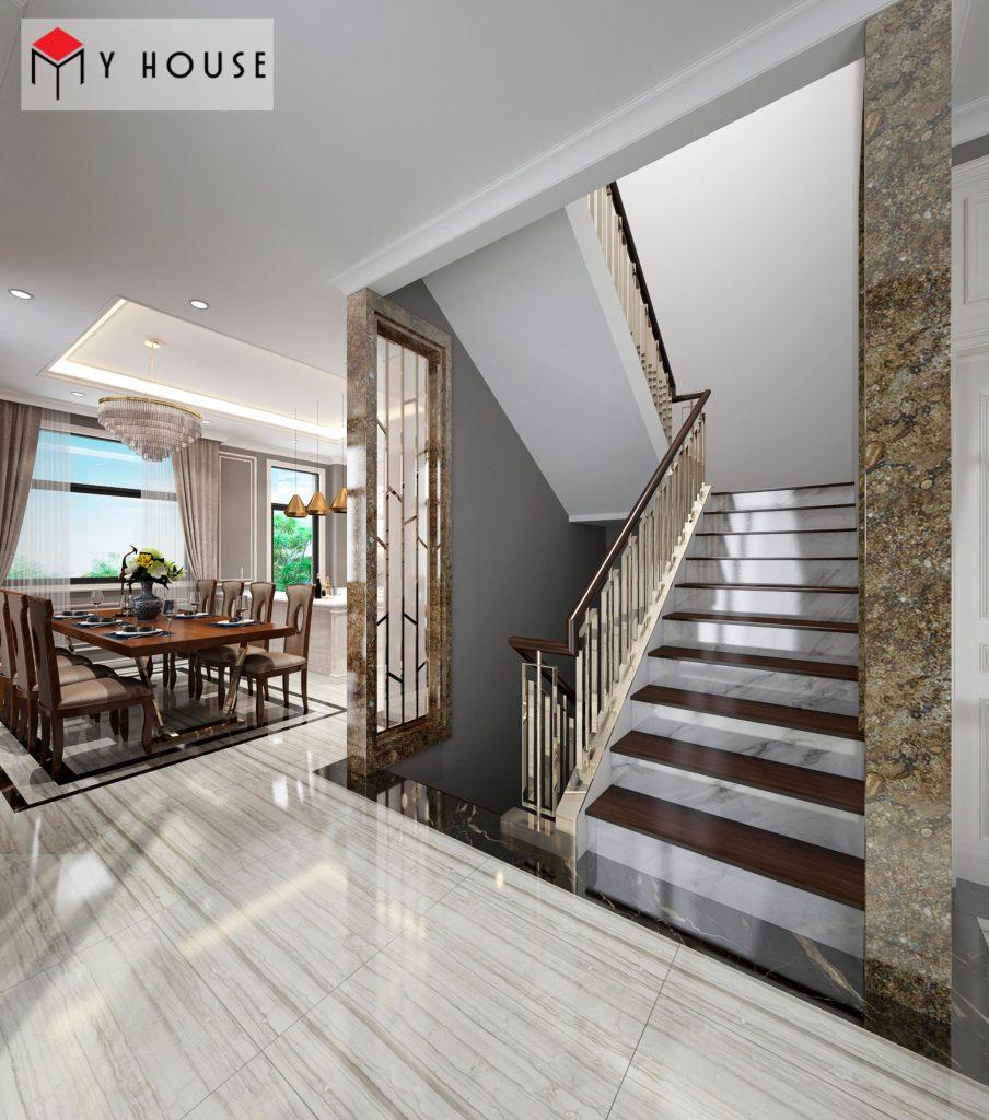 Sảnh cầu thang sang trọng nhìn ra khu vực phòng ăn