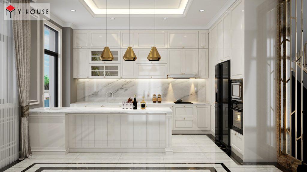 Nội thất phòng bếp với tông màu trắng sữa hiện đại sang trọng