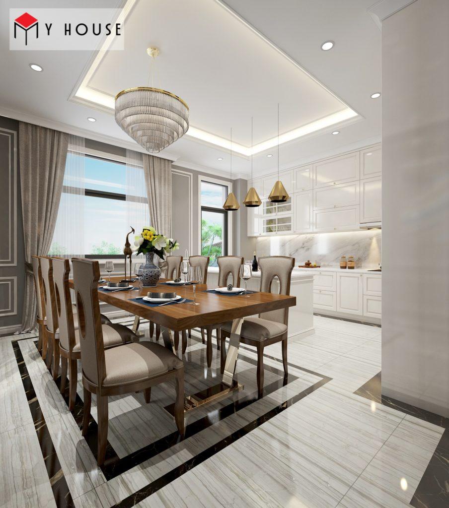 Bộ bàn ghế ăn hiện đại phù hợp với tông màu nội thất