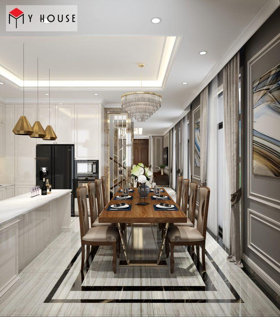 Nội thất phòng ăn sang trọng với vật liệu gỗ cao cấp