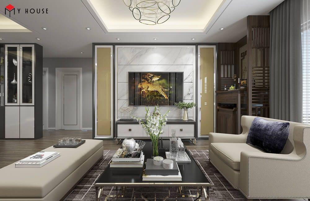 Thiết kế theo phong cách hiện đại phòng bếp và phòng khách sẽ liên thông