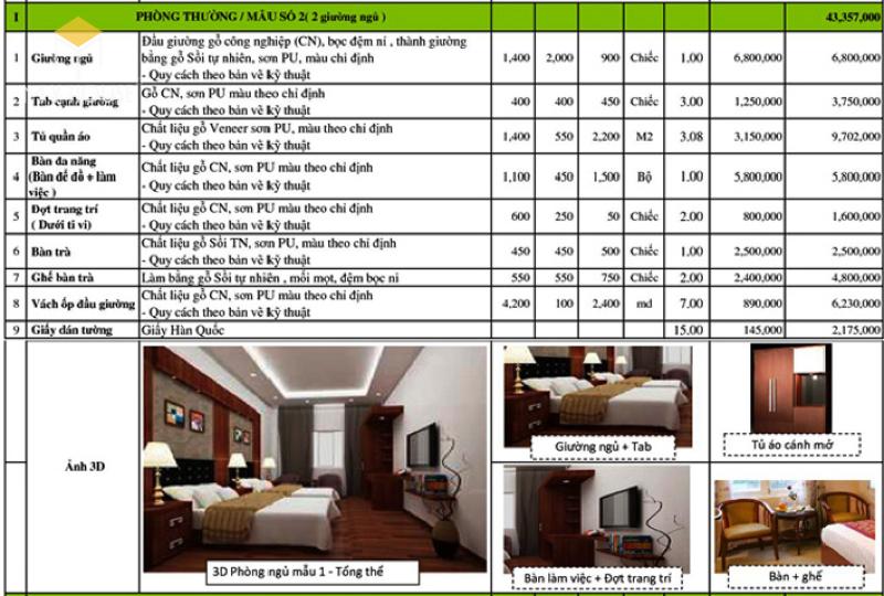 Bảng giá giường tủ khách sạn