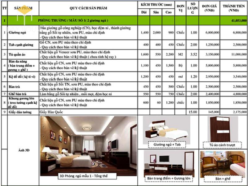 Báo giá nội thất khách sạn