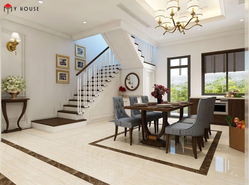 Nội thất nổi bật với tông màu trắng của kiến trúc nhà
