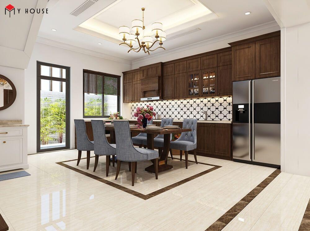 Không gian nội thất phòng bếp nhà phố sang trọng