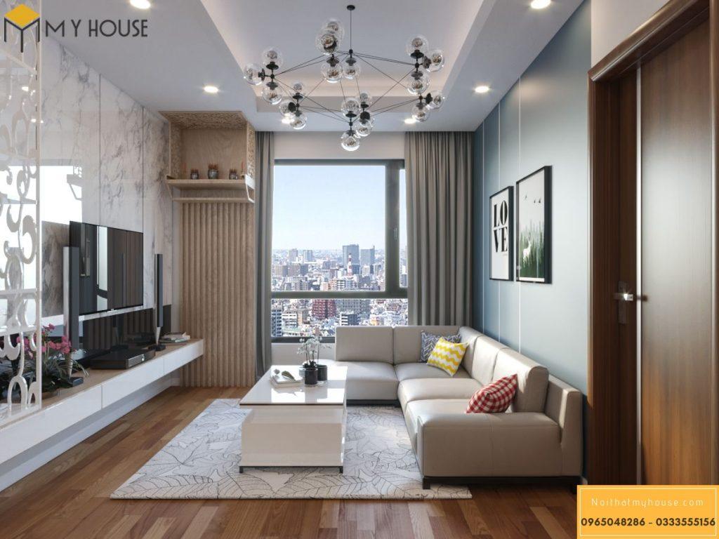 Thiết kế nội thất phòng khách chung cư 65m2