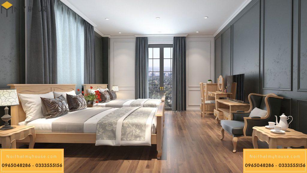 Phòng ngủ đôi với các vật liệu nội thất cao cấp