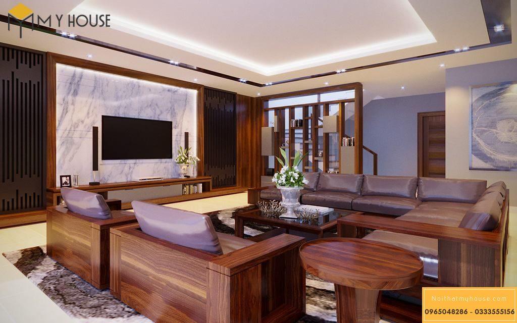 Bố trí hệ thống nội thất phòng khách nhà phố 90m2