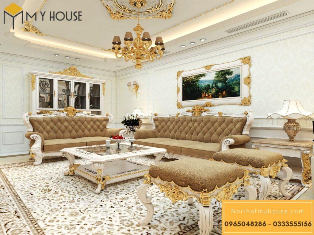 Phòng khách biệt thự phong cách cổ điển đẹp nhất năm 2021