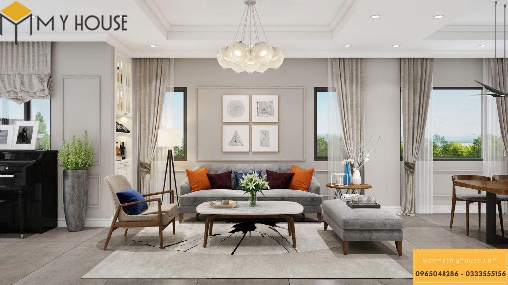 Mẫu thiết kế nội thất phòng khách nhà phố 2 tầng