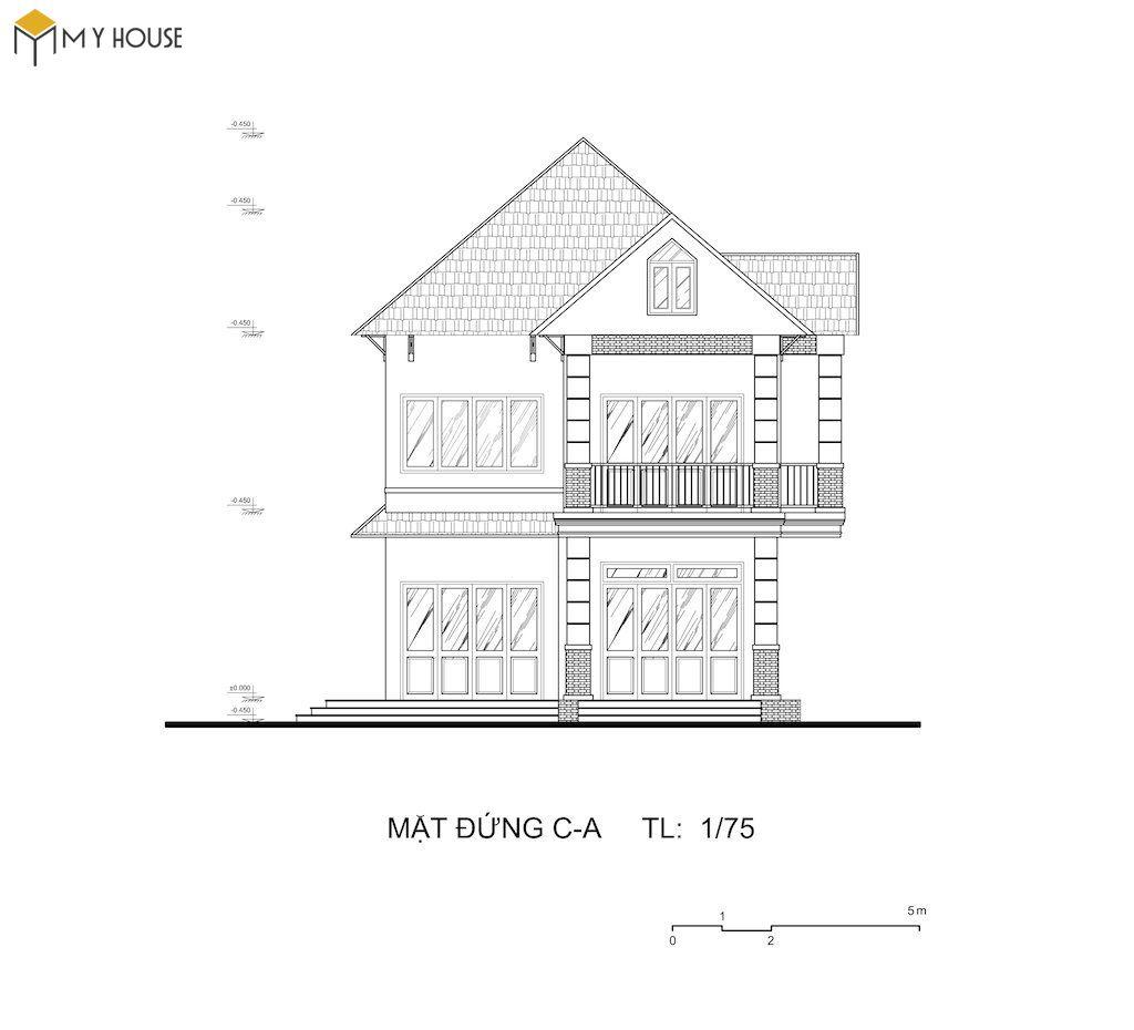 Bản vẽ tổng quan mặt tiền ngôi nhà