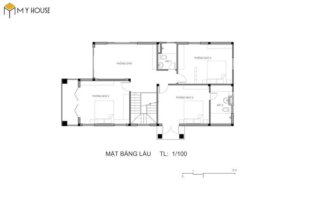 Bản vẽ mặt bằng tầng 2 biệt thự mini 2 tầng mái thái