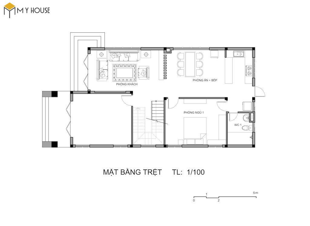 Bản vẽ mặt bằng tầng 1 biệt thự mini 2 tầng mái thái