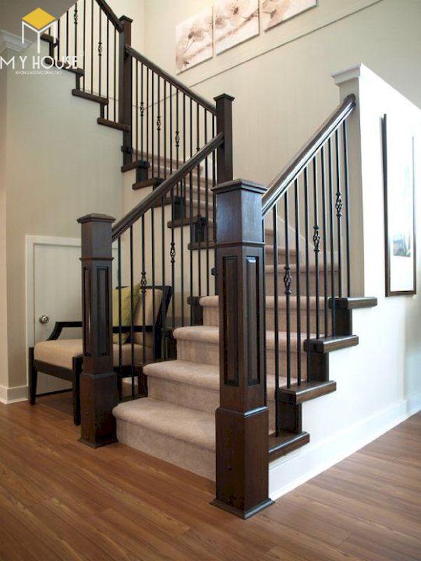 Mẫu cầu thang gỗ vuông đẹp - Hình ảnh 7