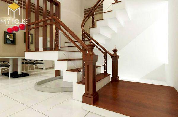 Mẫu cầu thang gỗ vuông đẹp - Hình ảnh 10