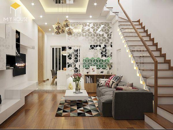 Mẫu phòng khách nhà ống 4m có cầu thang - Hình ảnh 2