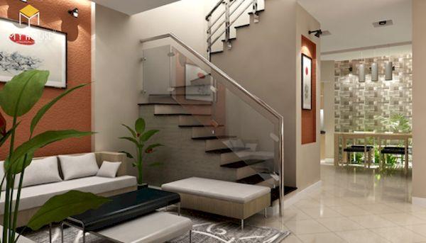 Mẫu phòng khách nhà ống 4m có cầu thang - Hình ảnh 4