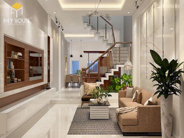 Mẫu phòng khách nhà ống 4m có cầu thang - Hình ảnh 6