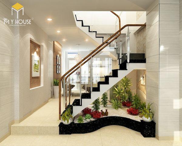 Mẫu phòng khách nhà ống 4m có cầu thang - Hình ảnh 7