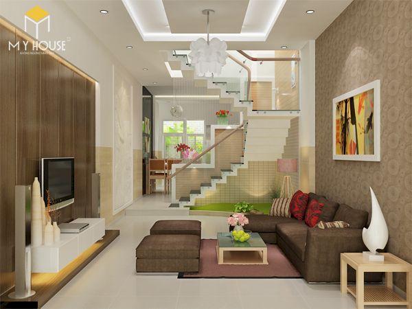Mẫu phòng khách nhà ống 4m có cầu thang - Hình ảnh 8