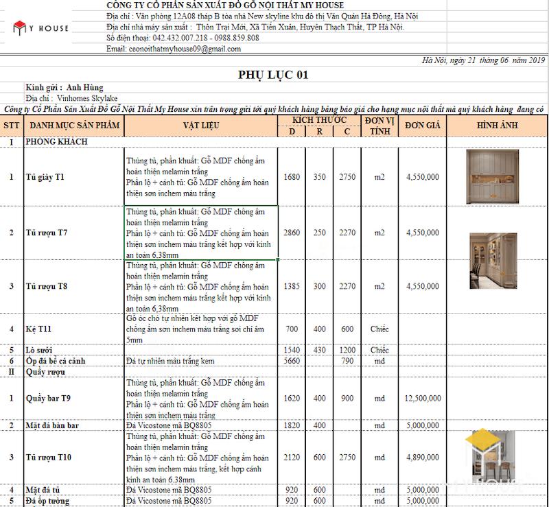 Bảng giáthiết kế nội thất chung cưcao cấp anh Hùng - Hình 1