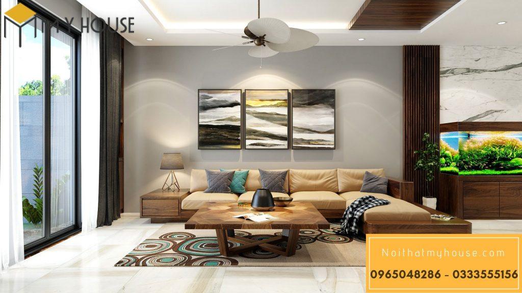 Thiết kế nội thất phòng khách biệt thự 04 tầng với gỗ óc chó tự nhiên