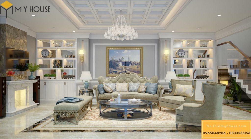Nội thất phòng khách được thiết kế cao cấp