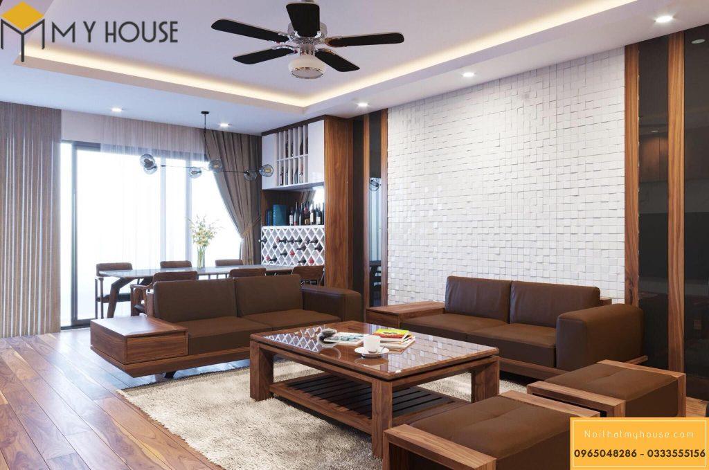 Phòng khách chung cư cao cấp bằng gỗ óc chó - View 1