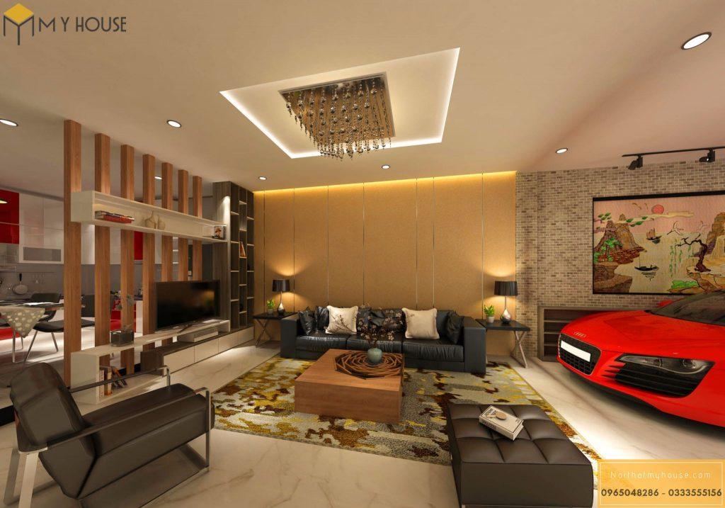 Không gian phòng khách nhà phố 3 tầng - View 2