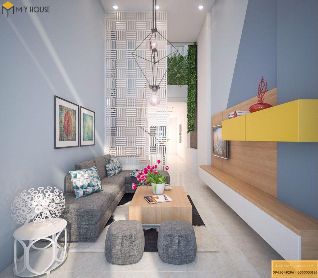 Thiết kế nội thất phòng khách nhà phố nhỏ