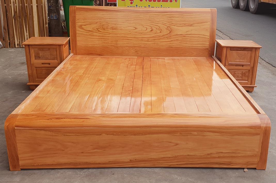 Giường gỗ gõ đỏ đơn giản đẹp