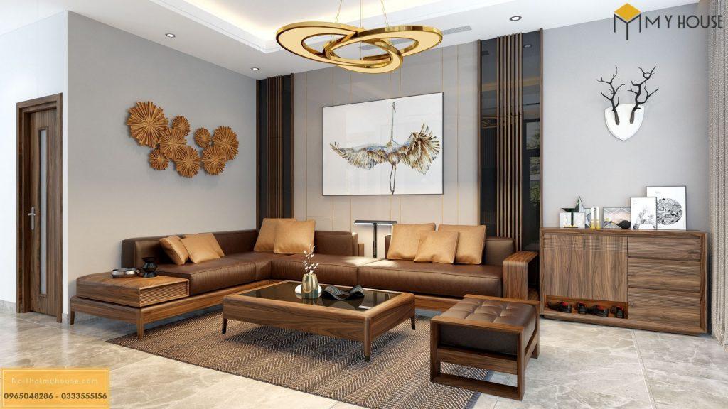 Mẫu bàn ghế sofa phòng khách gỗ tự nhiên cao cấp - Mẫu 11