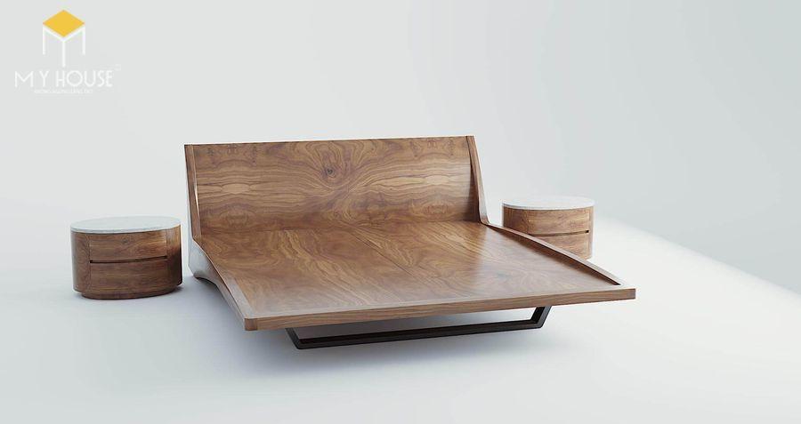 Giường gỗ óc chó hiện đại độc đáo