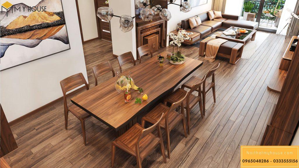 Bộ bàn ghế ăn bằng gỗ óc chó