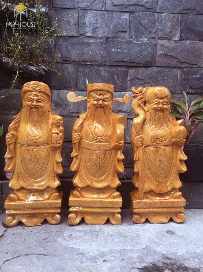 Tượng Phúc - Lộc - Thọ làm từ gỗ pơ mu