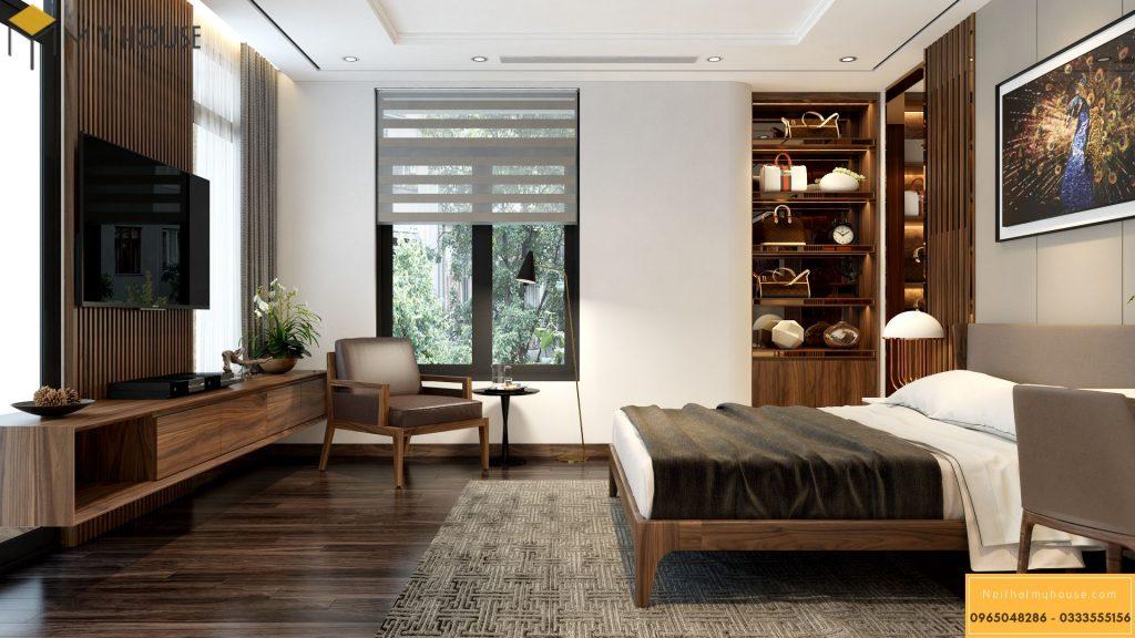 Nội thất phòng ngủ bằng gỗ óc chó sang trọng