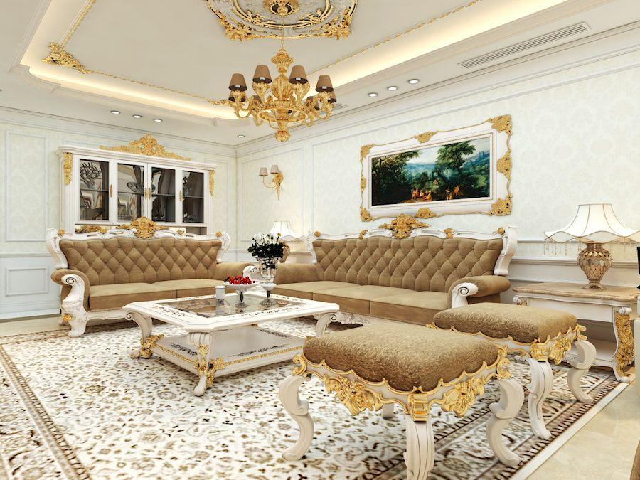 Phòng khách phong cách cổ điển Châu Âu