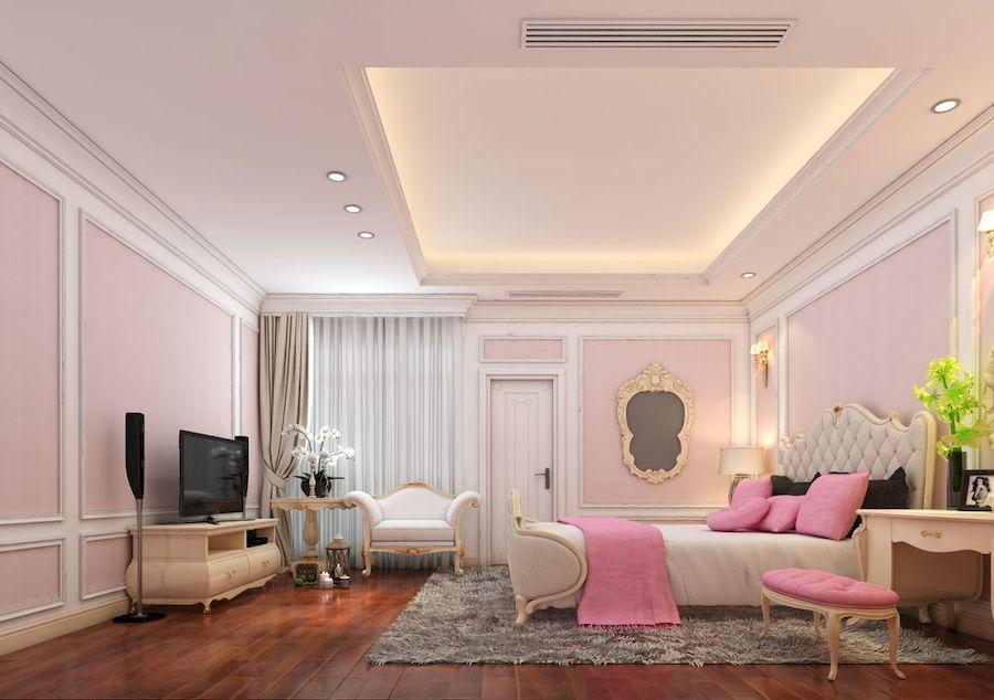 Phòng ngủ con gái phong cách cổ điển Châu Âu