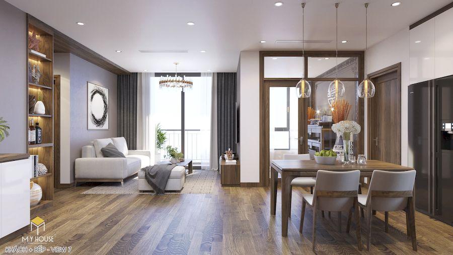 Nội thất phòng khách + Bếp - Góc view 1
