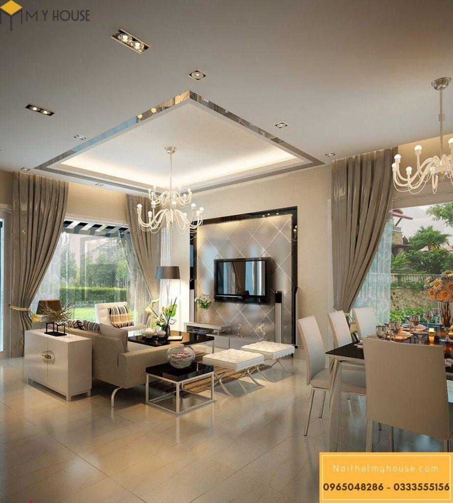 Thiết kế nội thất phòng khách biệt thự vườn - View 1