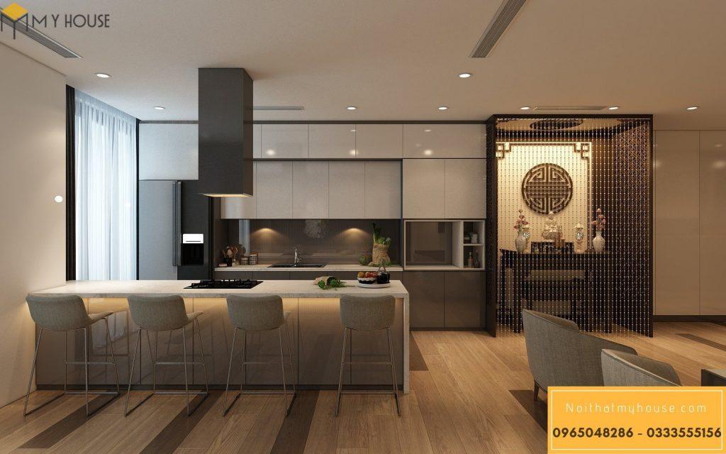 Thiết kế nội thất phòng bếp chung cư đẹp - View 1