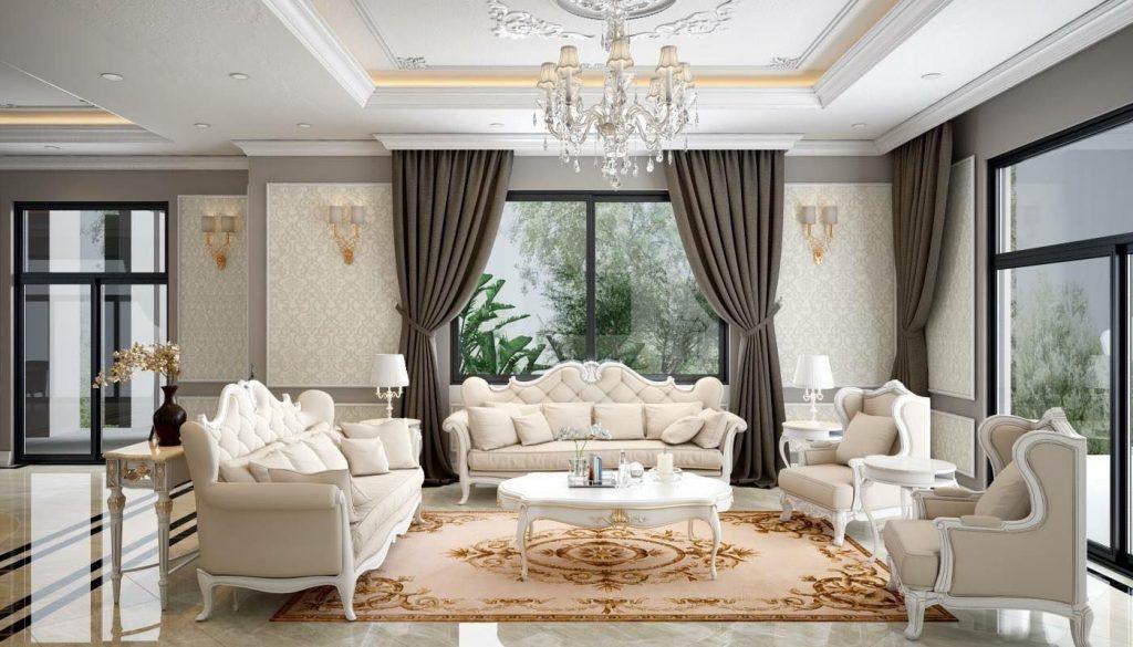 Thiết kế nội thất phòng khách 25m2 tân cổ điển - Mẫu 4