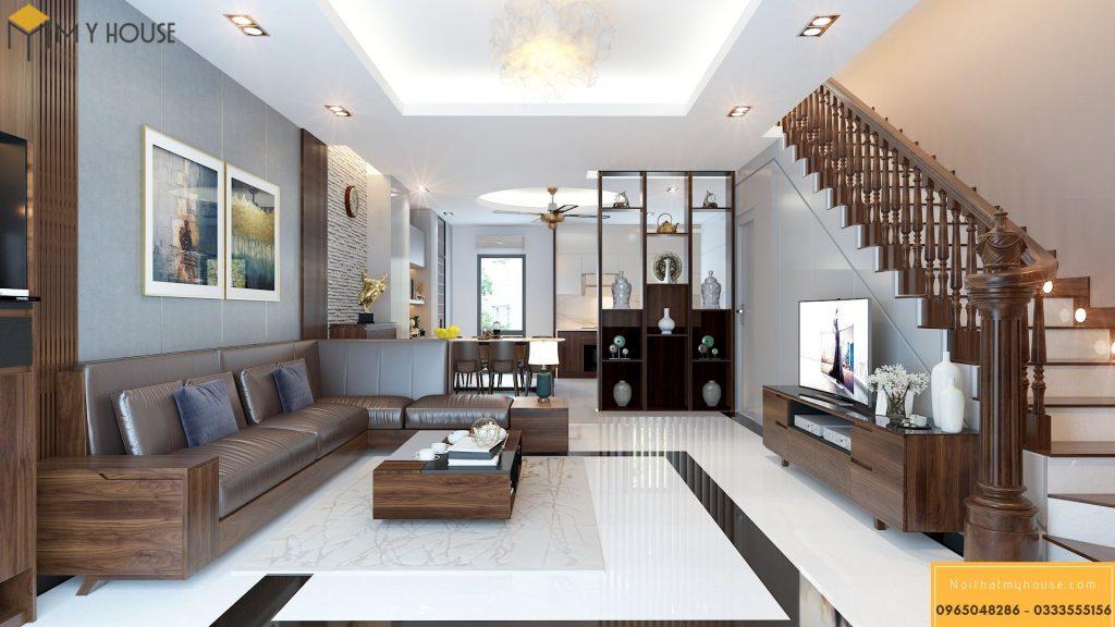 Thiết kế phòng khách và bếp cho nhà phố