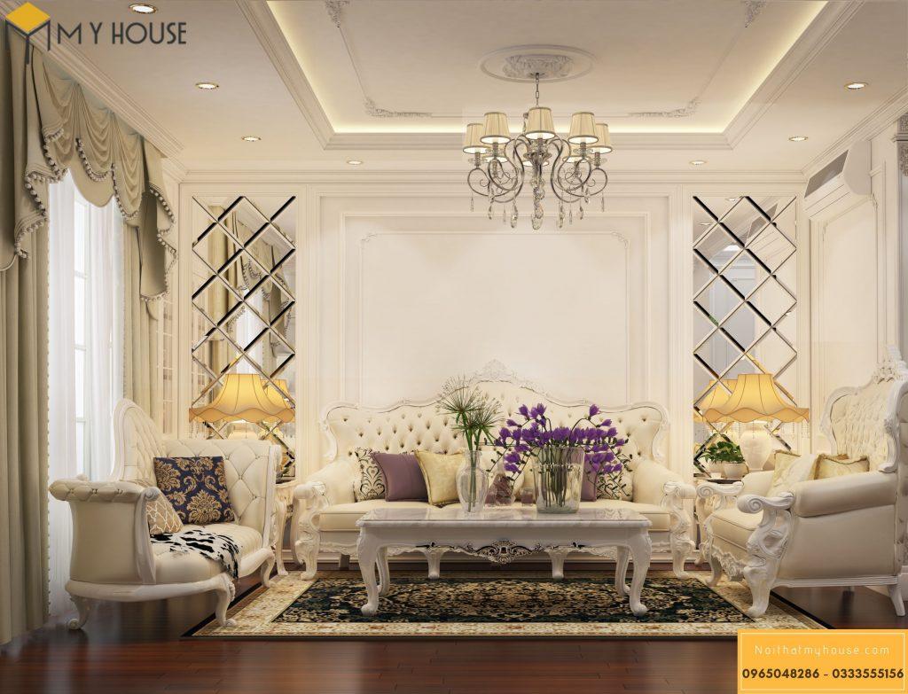 Thiết kế phòng khách chung cư tân cổ điển - View 1