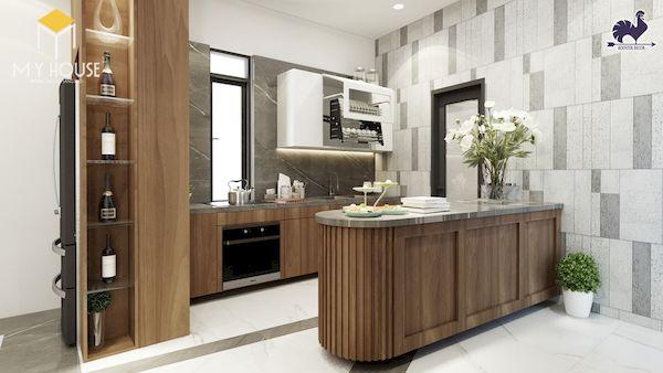 Mẫu tủ bếp gỗ óc chó tự nhiên đẹp - Hình ảnh 6