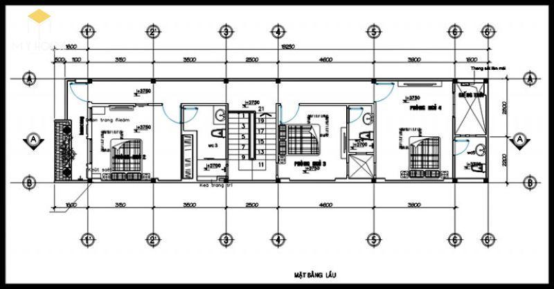 Bản vẽ tầng 2 nhà phố 5x15m